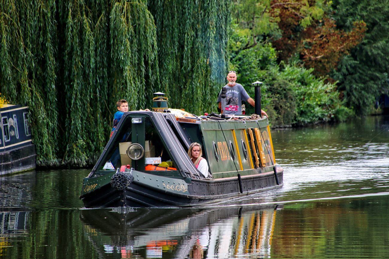 Barge on the Kennet and Avon Canal Adult Adults Only Day Forest Full Length Mid Adult Men Nature Nautical Vessel Outdoors People Togetherness Tree Vacations Water Young Adult