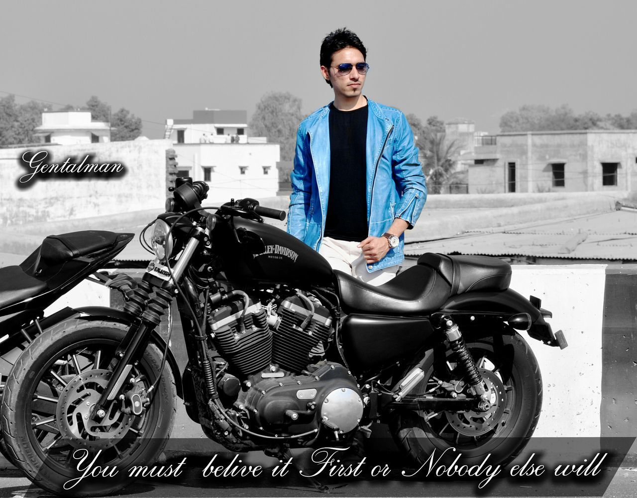looking at camera, motorcycle, real people, one person, portrait, front view, young adult, transportation, lifestyles, outdoors, mode of transport, young men, jacket, day, confidence, full length, built structure, smiling, standing, sitting, building exterior, architecture, young women, biker, people