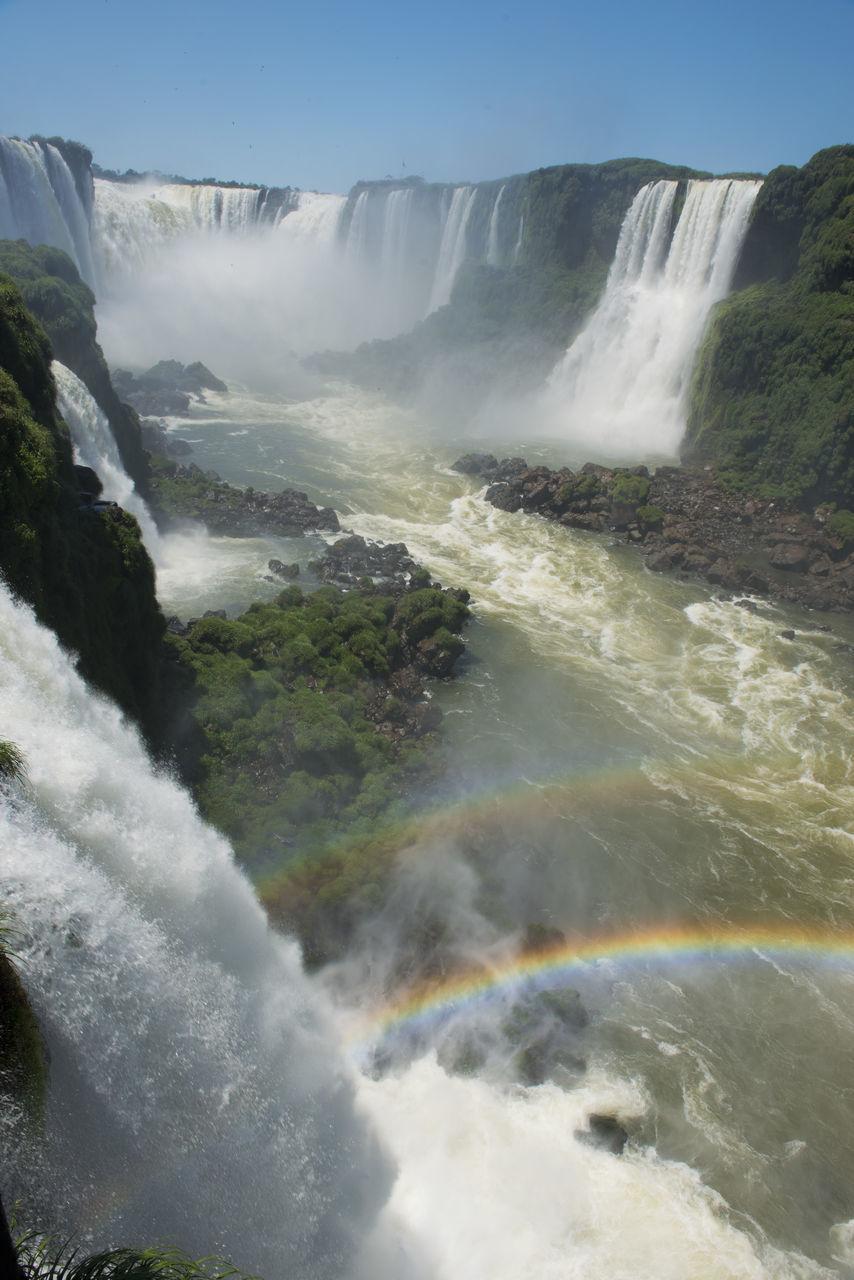 Idyllic Shot Of Iguazu Falls Against Clear Sky