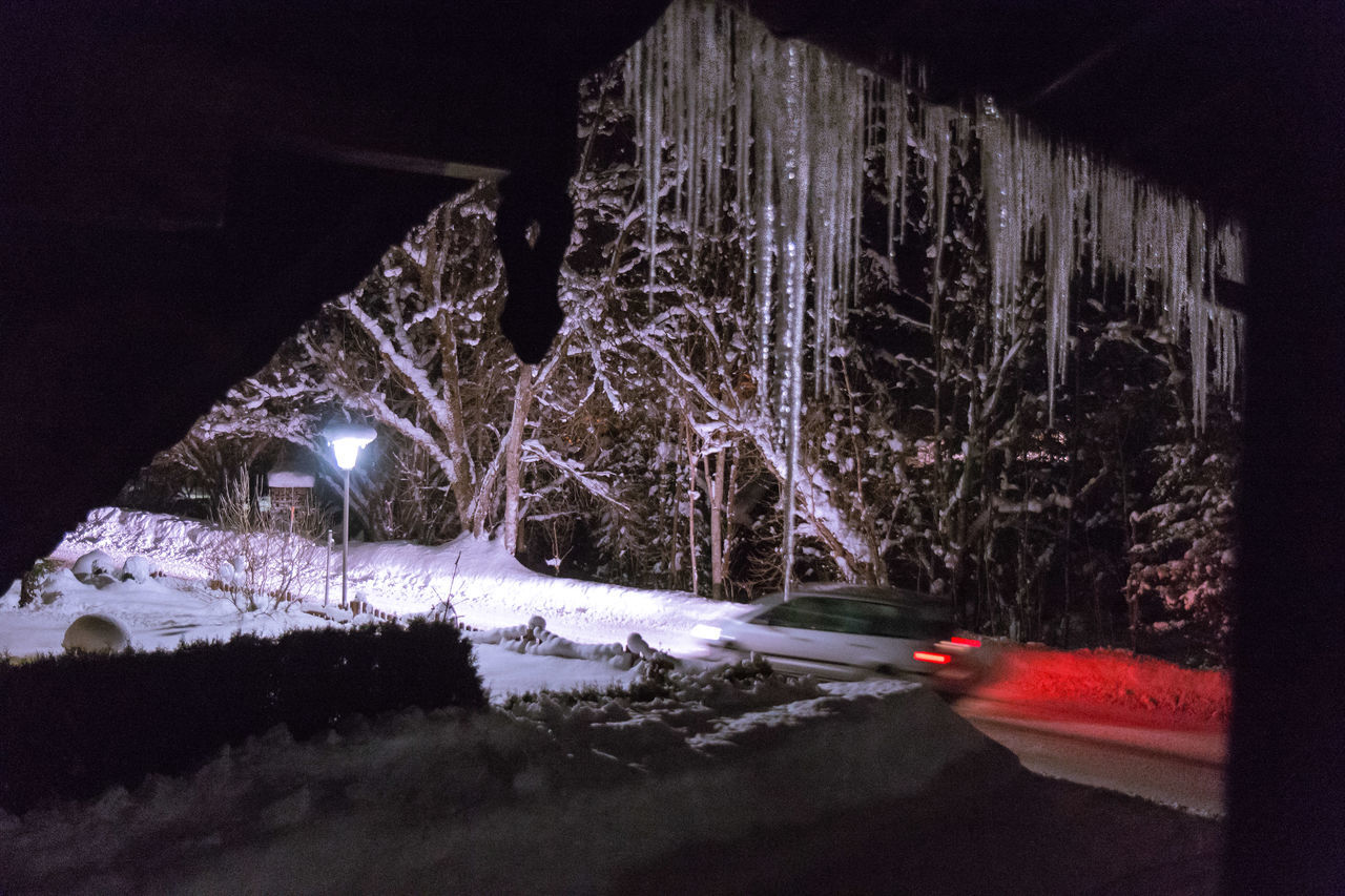 Beauty In Nature Cold Temperature EyeEm Best Shots Icicles Illuminated Nature Night Nightphotography No People Outdoors Snow Transportation Tree Winter