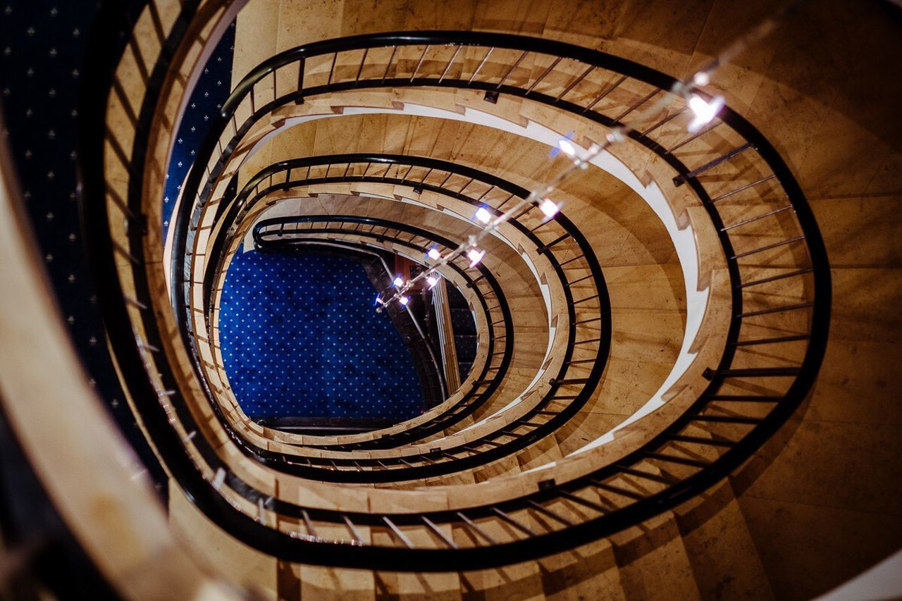 Stairs to heaven. Stairs Round Round And Round Hotel Architecture Built Structure Steps And Staircases Illuminated Spiral Stairs Lightflash Fujifilm Fujifilm_xseries FUJIFILM X-T2 Fujinon 35mm 1.4 Available Light Available Light Photography