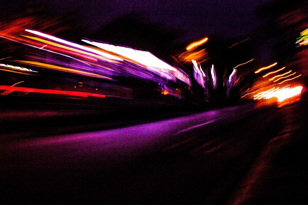 Blurred Blurred Motion Blurry Car City City City Life City Lights City Movement Illuminated Light Trail Lighting Equipment Lights Long Exposure Motion Move Movement Multi Colored Night Nightlife No People Outdoors Road Speed Transportation