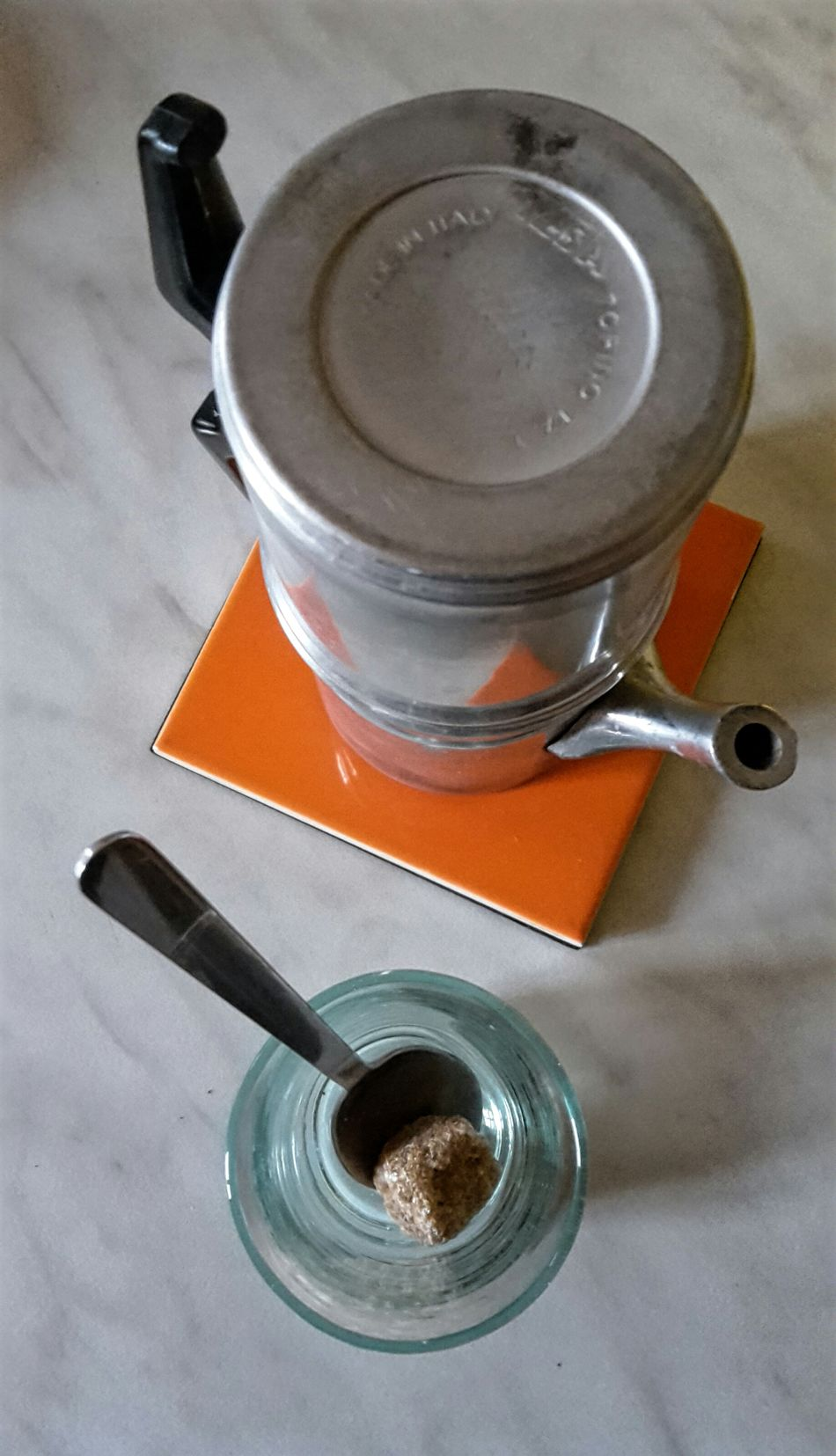 Flying High In The Kitchen! Italian Coffee Culture Lumpsugar Coffeepot Italian Coffee Coffee Time Orange Color Glass Food And Drink Aluminum Authentic Italian Food