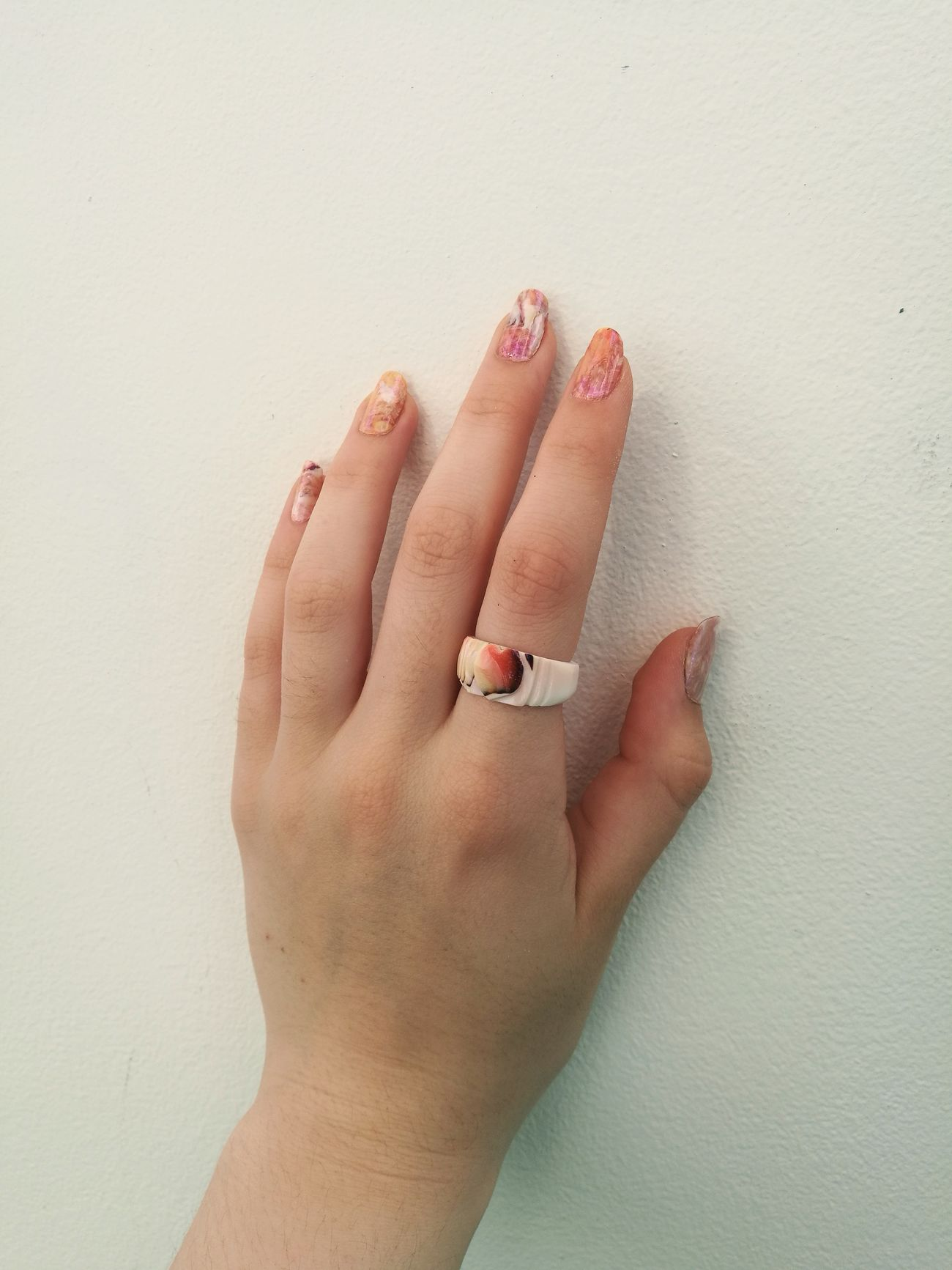 Human Finger Human Hand Nail Polish Manicure Nails Rings♥ Shell Ring Orange Color White Color Hand