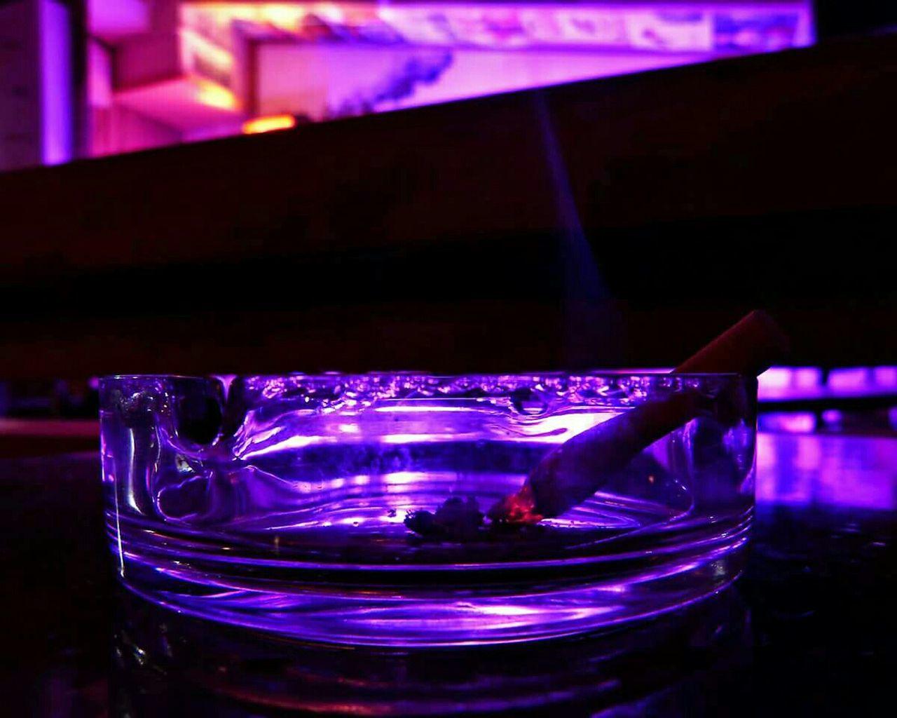Close-up Ashtray  Cigarette Time Purple Color Indoors  No People Illuminated