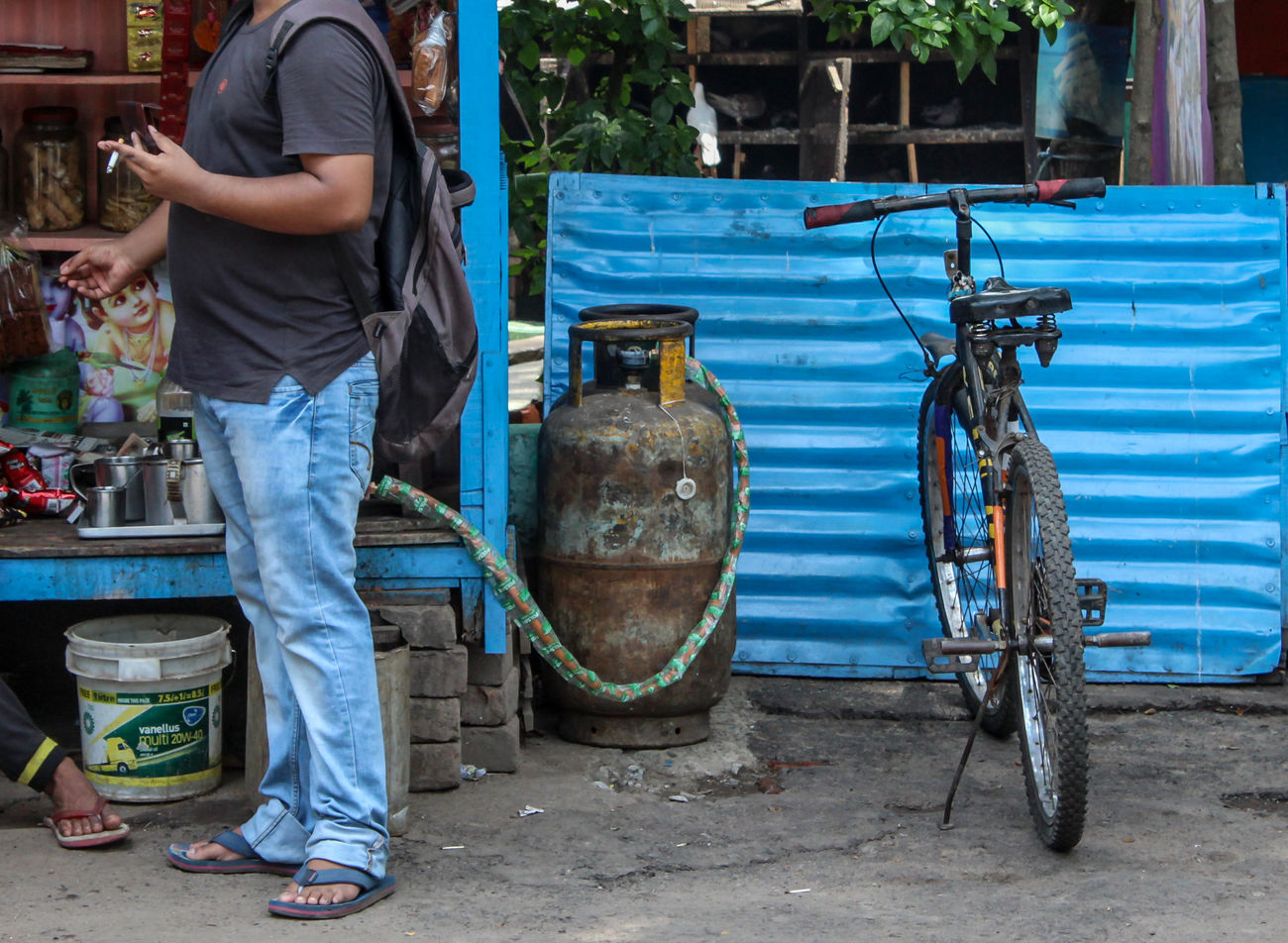 Give Me Smoke, I'll Give You Gas. Blue BYOPaper! Cycle Cylinder Fun Gas Humour Juxtaposition Lighter Men People Pipe Smoke Streethumour Tail