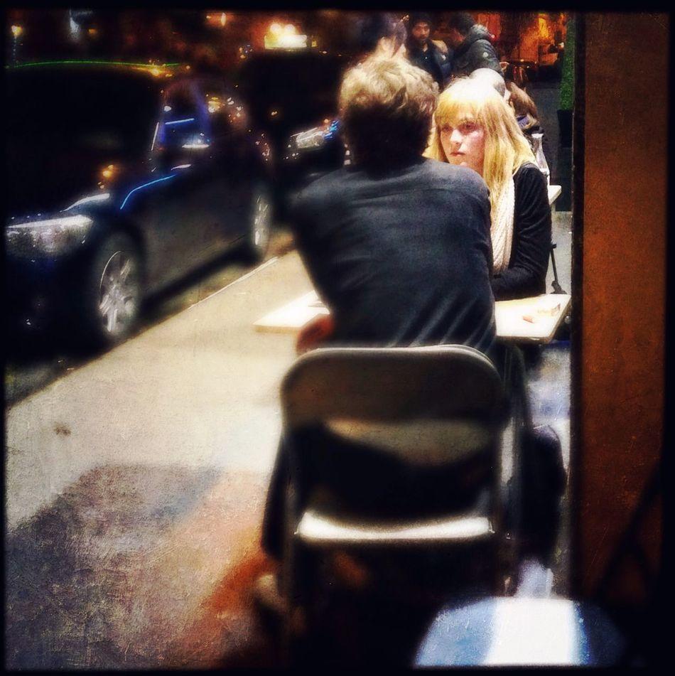 First dating? Hipstamatic + Mextures . Stolen Moments Troquet Parisien Nightphotography Streetphotography Street Portrait IPhoneography NEM Painterly
