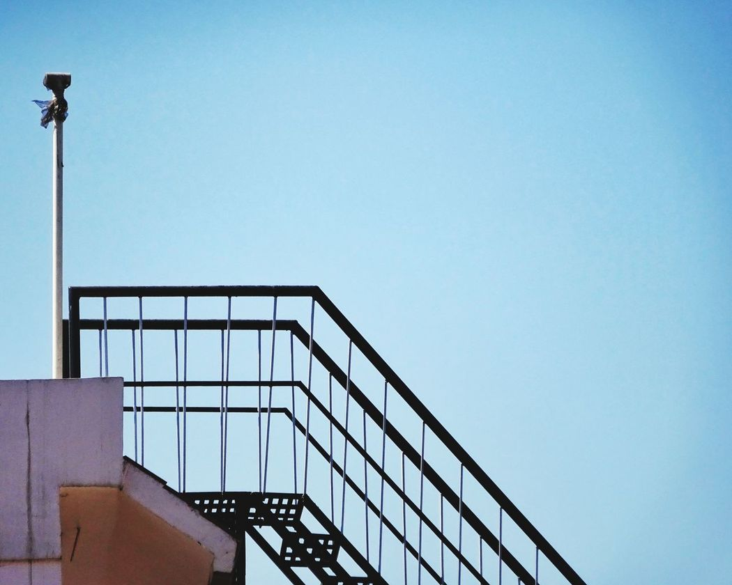 Stair Metals Clear Sky Outdoors Bright Daylight Loved This Shot Taken At Terrace