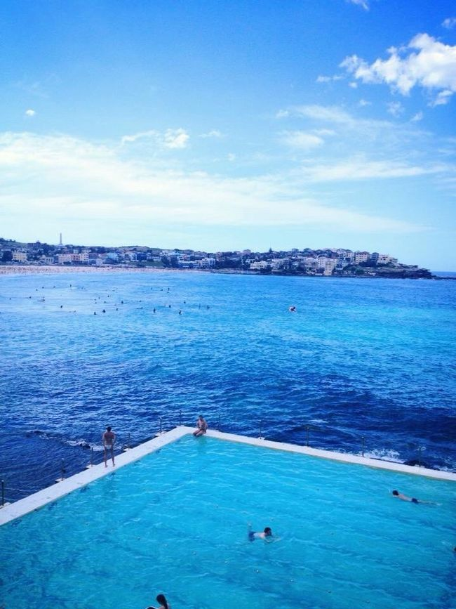 Color Palette Blue on blue on blue. View from the iconic Bondi Icebergs.