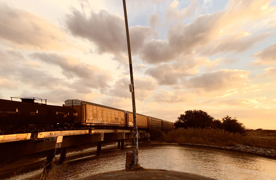 Architecture Beauty In Nature Bridge - Man Made Structure Built Structure Cloud - Sky Connection Day Freight Transportation Mode Of Transport Nature No People Outdoors River Scenics Sky Sunset Transportation Tree Water EyeEmNewHere