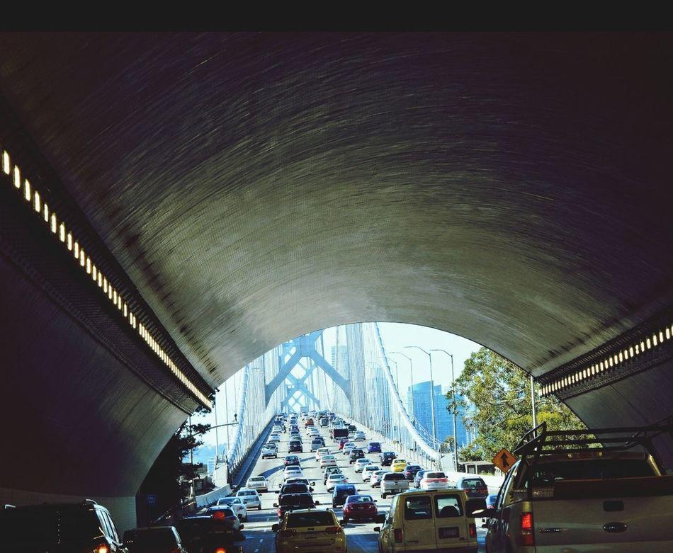 Car City Outdoors Mode Of Transport Transportation Tunnel Series Bridge Over Water Trafficjam