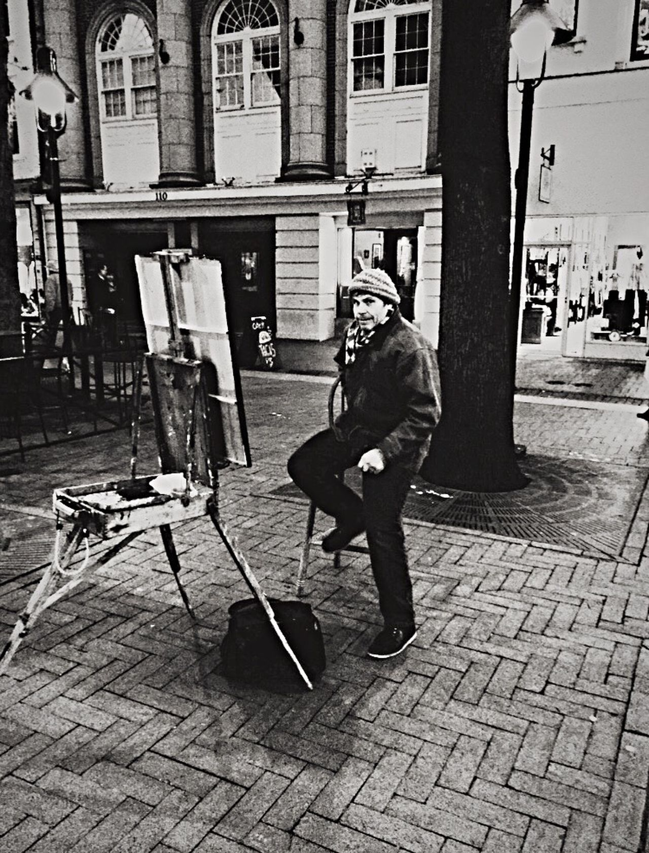 Downtown Walking Mall C'ville, VA One Person Street Art Blackandwhitephoto Street Vendor Streetphotography Charlottesville Paint Painting Mall Real People Architecture Oil Painting