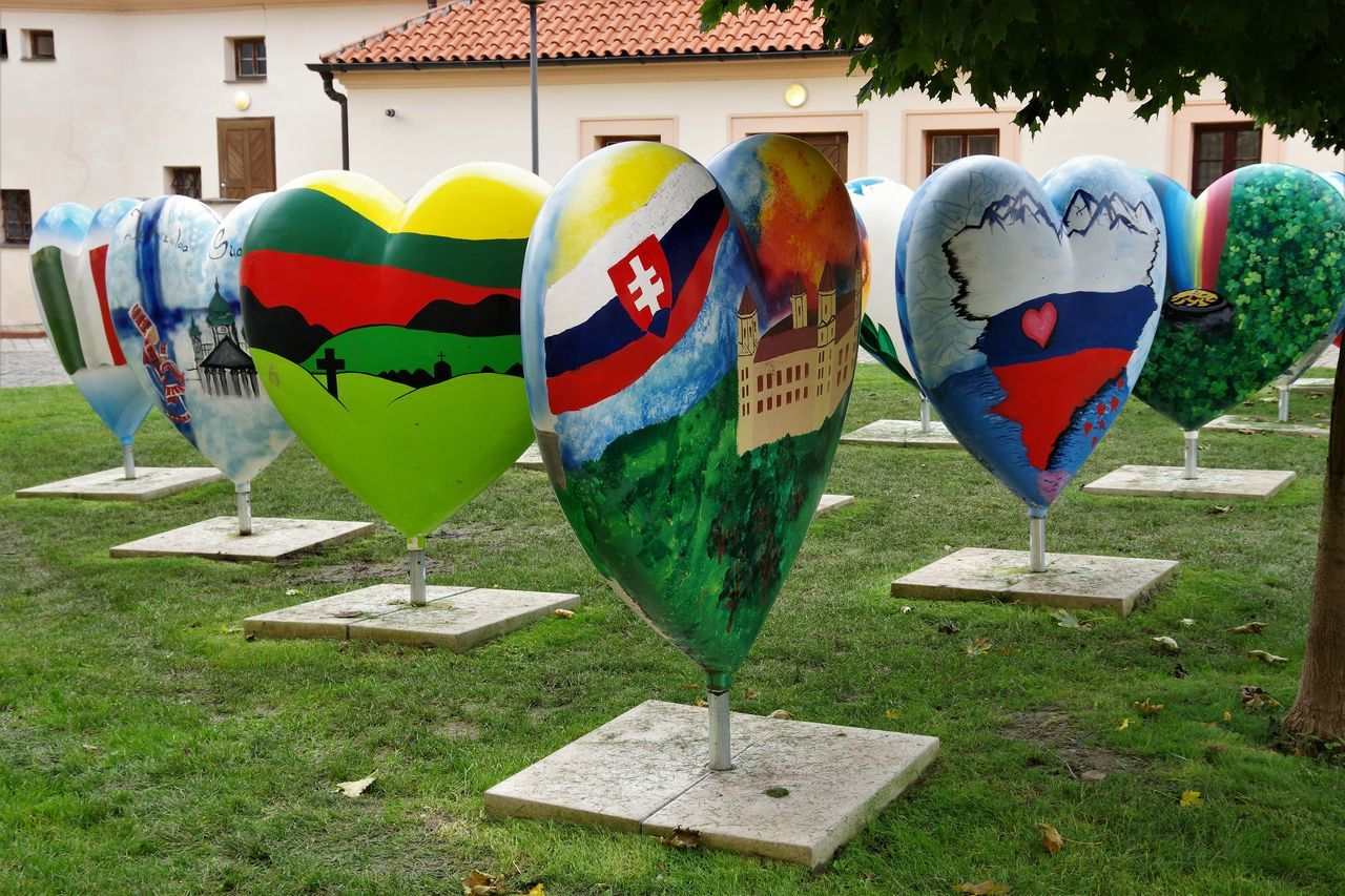 Beautifully Organized Day Flags Grass Heart Heart Shape Hearts Multi Colored No People Outdoors