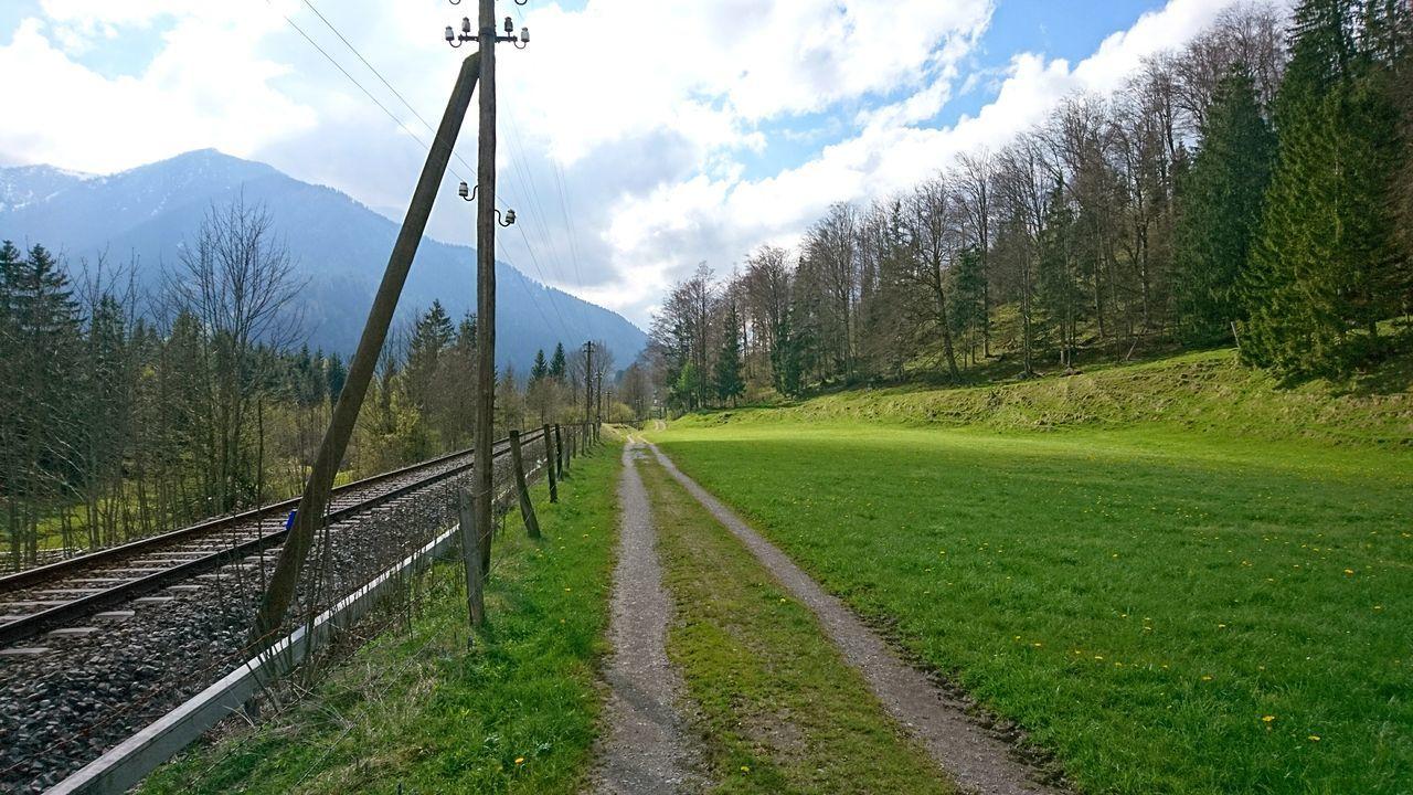 Alpine foreland II. · Germany Bavaria Bayern Alpine Foreland Alpine Foothills Alpenvorland Mountains Nature Landscape Road Path Hike Hiking Pastures Fields Trees Green Blue Clouds And Sky Beautiful Day Railroad Tracks Pole