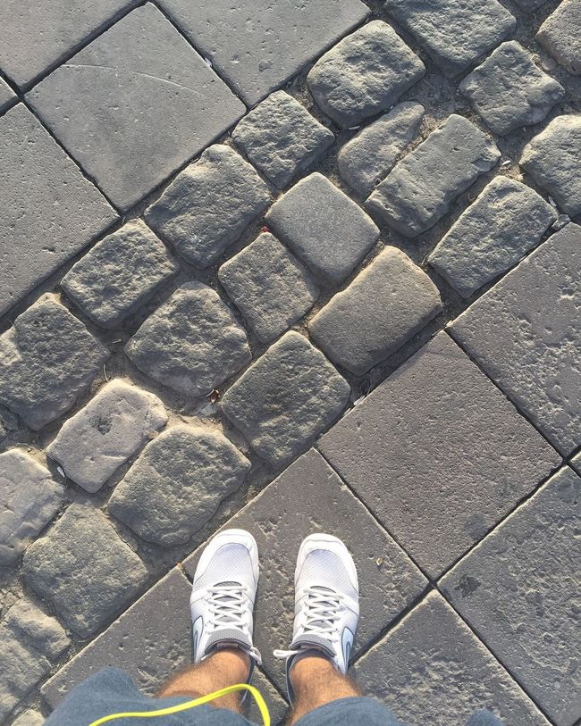 Low Section Person Shoe Personal Perspective Standing Human Foot Footwear High Angle View Day Adult Paving Stone Outdoors Stone Material Footpath Alsancak Kordon Alsancak Izmir Aegean Walking Street Sunlight Travel
