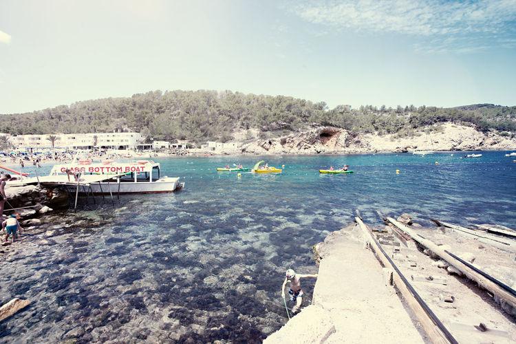 Eivissa Formentera Ibiza SPAIN Spanien Beach Boat España Glass Bottom Boat Sea Summer