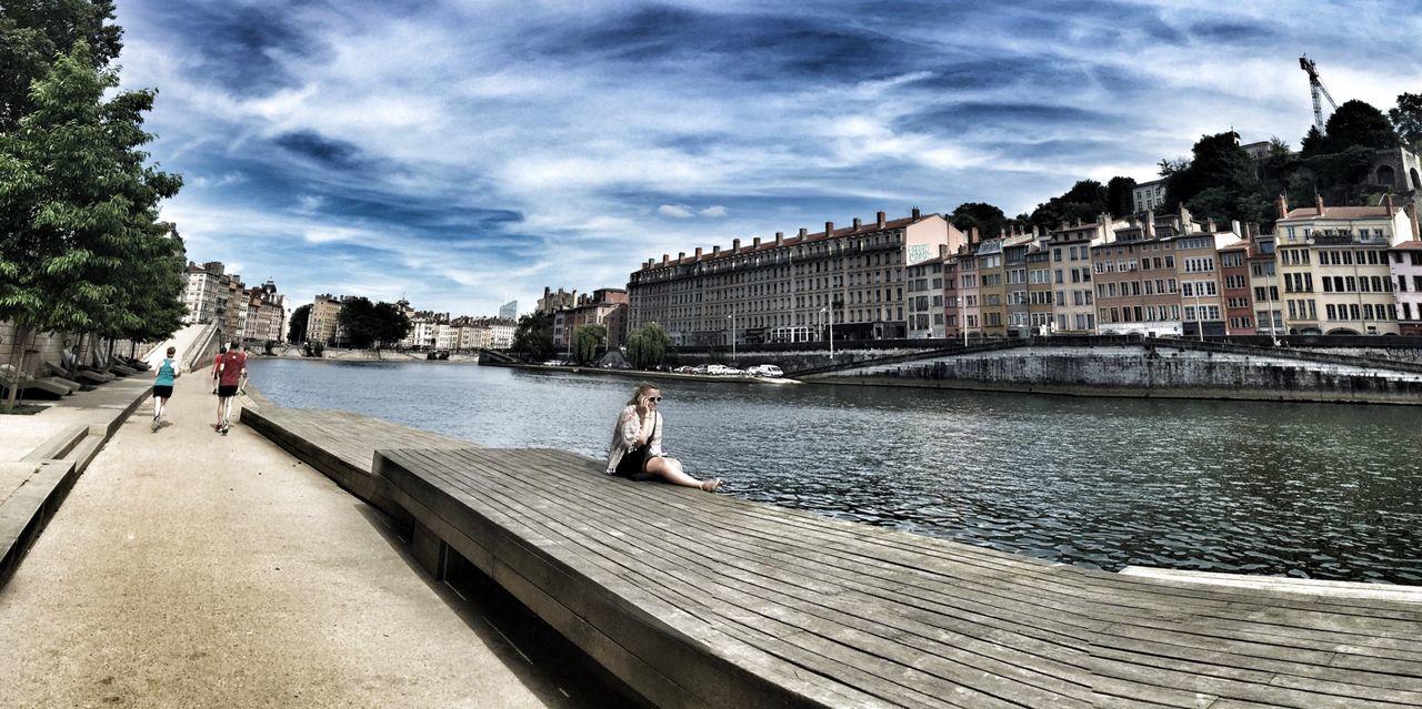 Lyon France River City Bridge - Man Made Structure Riverbank France Lyon