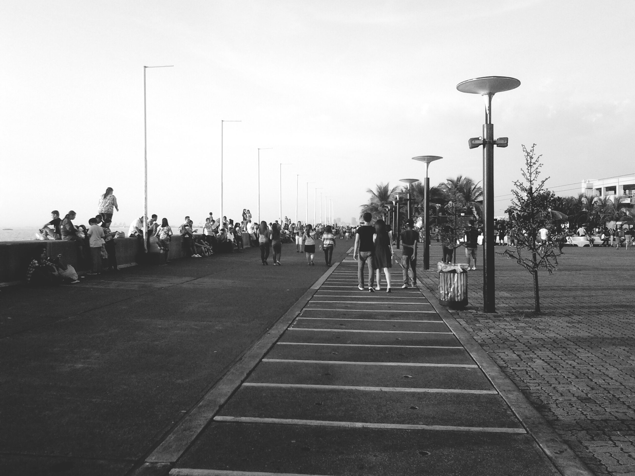 street light, men, sky, person, large group of people, lifestyles, leisure activity, the way forward, tree, walking, street, clear sky, city, footpath, city life, outdoors, mixed age range, park - man made space, lighting equipment