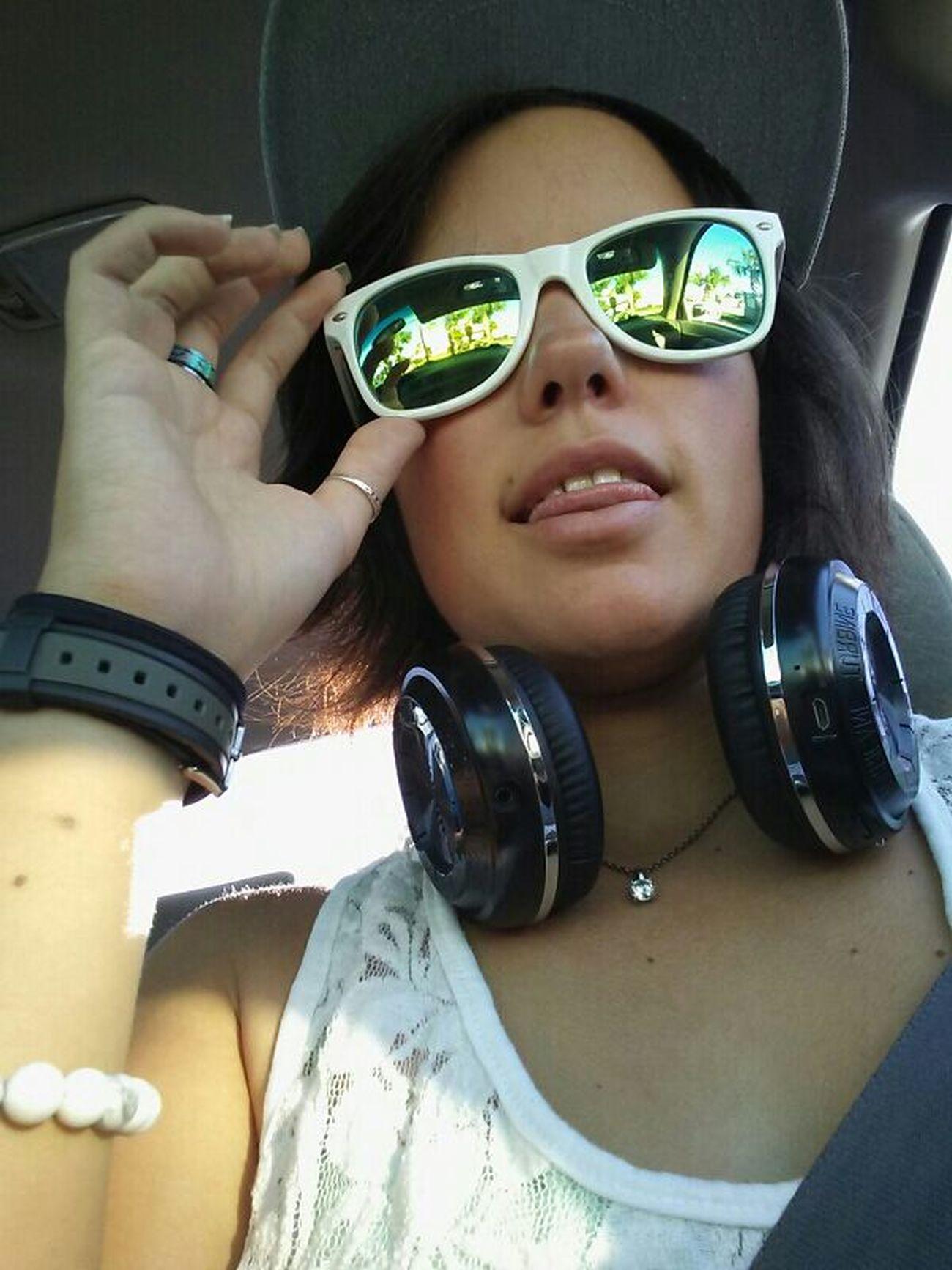 Freckles Headphones Headshot Jewelry Selfie Snapback Sunglasses Tan Watch White