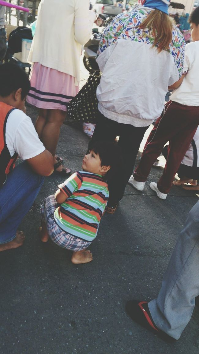 Asian Culture Boy Sidewalk Bangkok Thailand. Waiting Lovely Cute Kids Morning Doinggood Offer Food To Monk