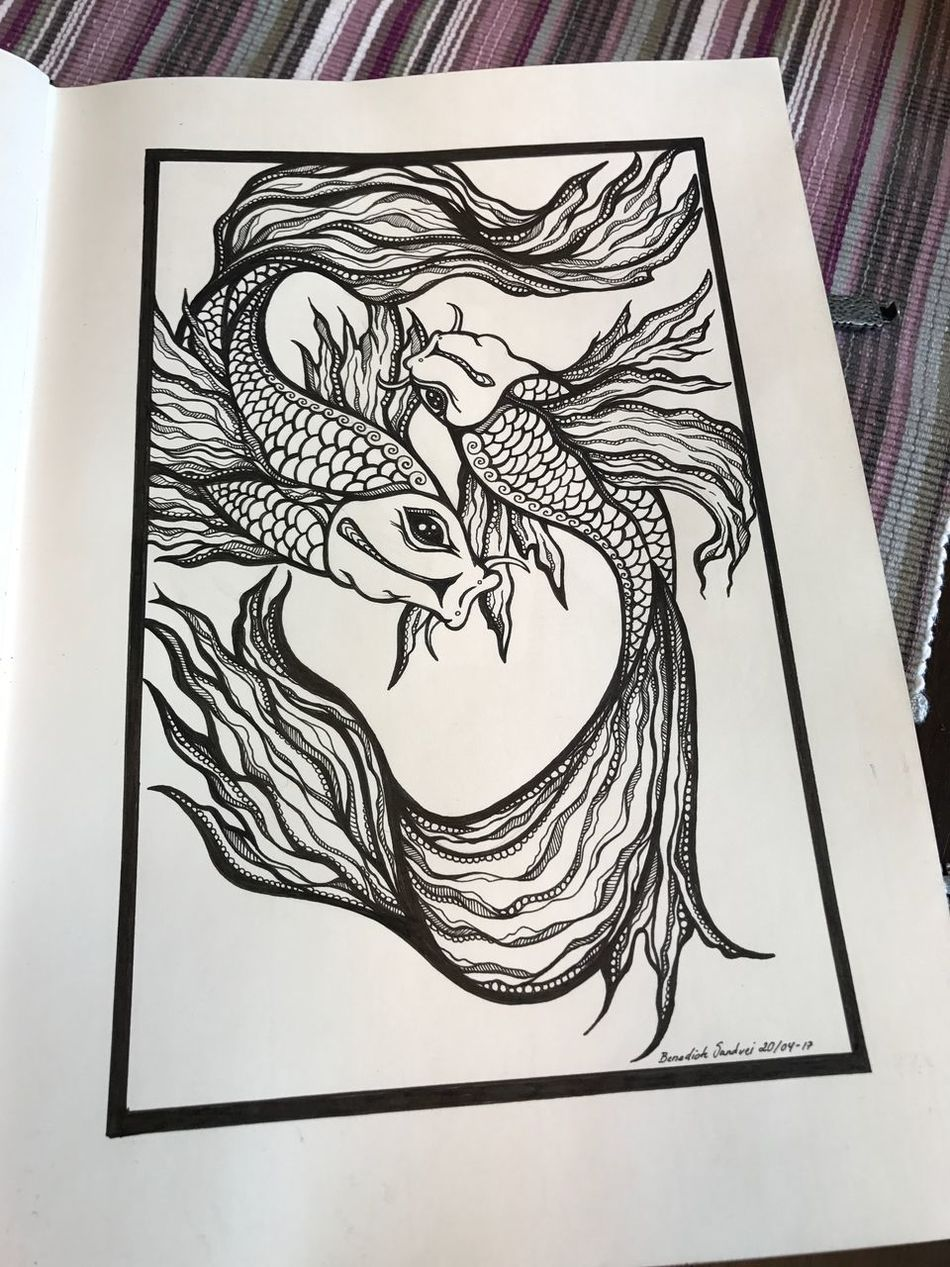 Drawing - Art Product Art And Craft Drawing - Activity Drawing Pendrawing Pen Tattoo Life Tattoodesign Koi Fish Tattoos Inspirations