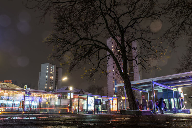 Berlin Berlin Photography EyeEmNewHere Night Lights Suburban Landscape Architecture Bare Tree Berliner Ansichten Building Exterior Built Structure City High Street Illuminated Johannisthalerchaussee Long Exposure Night No People Outdoors Road Sky Skycraper Street Street Light Suburban Tree