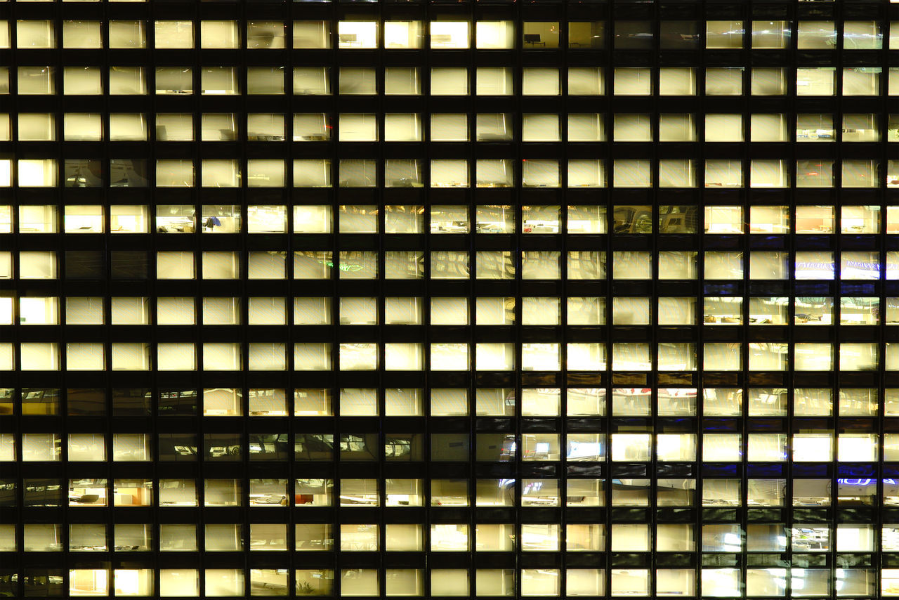 Nightlife behind building windows Architecture Architecture Building Business Construction Exterior In A Row Industry Japan Light Light And Shadow Night Nightlife Office Office Building Organization Windows Working