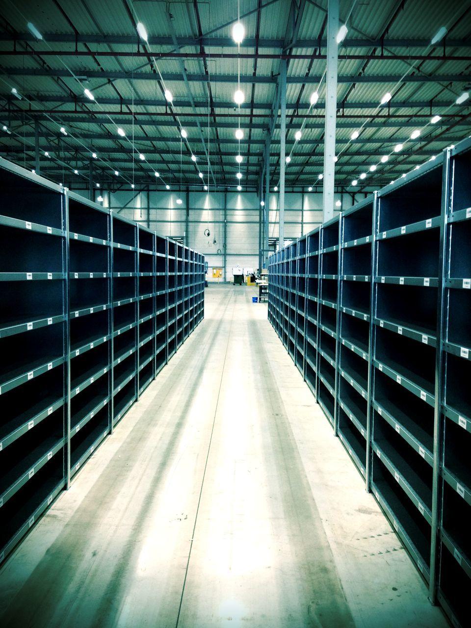 View of empty racks in warehouse