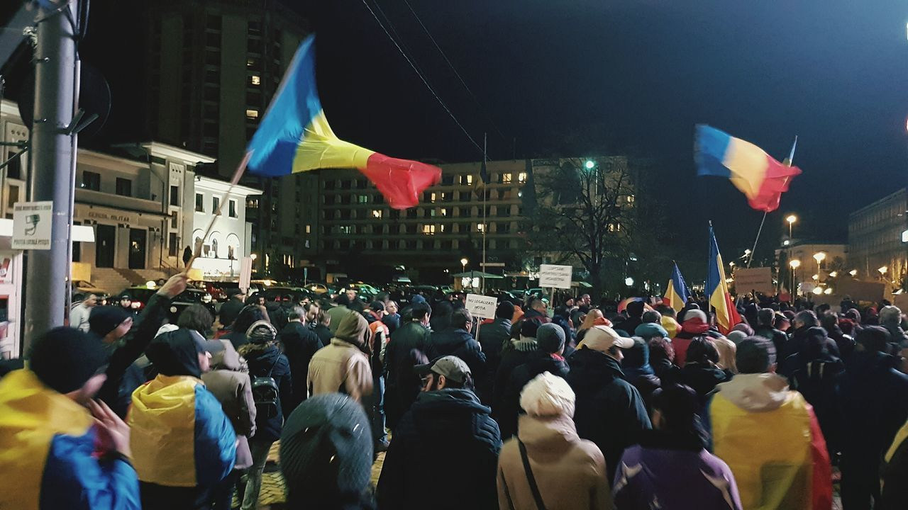 Romania Crowd Large Group Of People Flag Celebration City People Cultures Adult Event Adults Only Politics Night Outdoors Protest Protest March Romania Romania2017 government