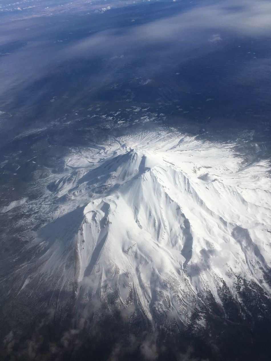 Mount Shasta, California Aerial Photography Snowcapped Mountain Powdery Snow