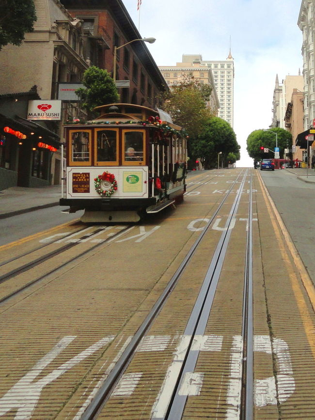 Cable Car Cable Car Tracks Keep Out Modern Old Transportation Street Up High Uphill