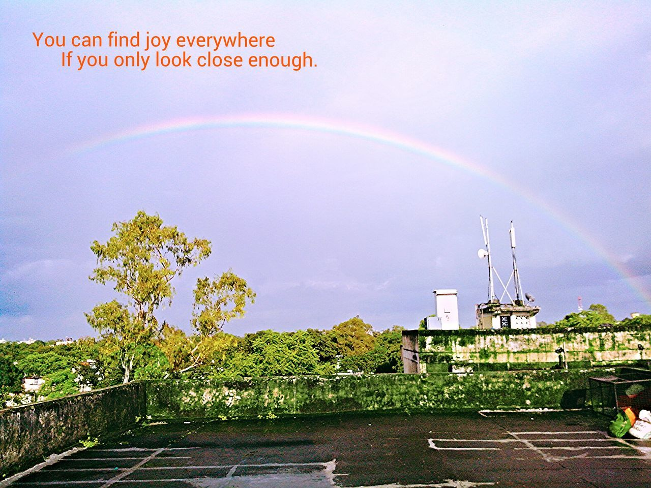 rainbow, double rainbow, sky, day, outdoors, no people, cloud - sky, architecture, building exterior, built structure, tree, nature, beauty in nature