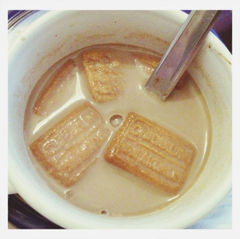 Cacao with cookies. Food Vegetarian Food Breakfast Colacao