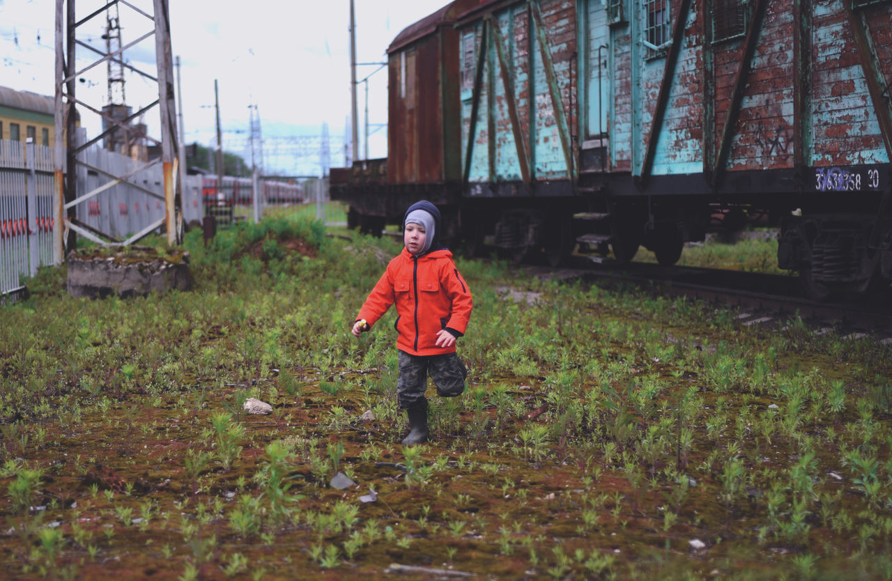 Boy Childhood Full Length Old Train One Person Real People Running Station