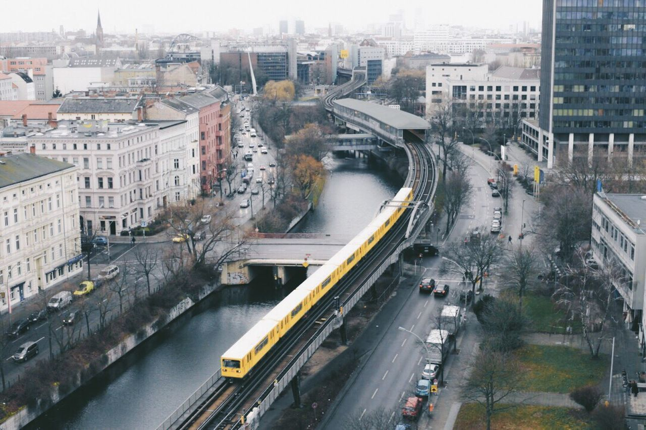 Berlin High Angle View Transportation Traffic City Architecture City Street Built Structure Cityscape Road Bridge - Man Made Structure Aerial View Car City Life Building Exterior Connection Mode Of Transport Rush Hour Motion Land Vehicle