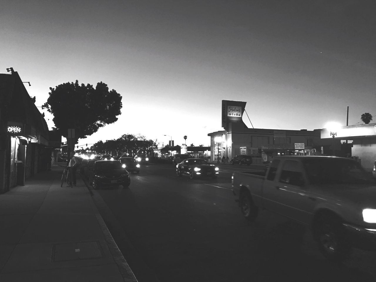 Car Transportation Building Exterior Built Structure Land Vehicle City Road Street Architecture Mode Of Transport Clear Sky Outdoors Tree Sky No People Day Blackandwhite Inner City City Heights El Cajon Blvd Sunset Rush Hour