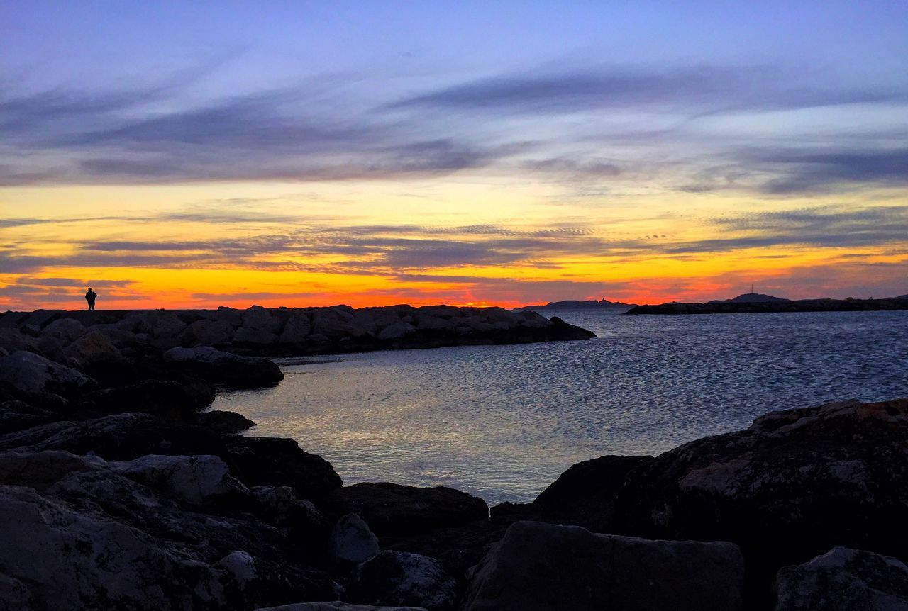 Sunset Beauty In Nature Sea Sky Tranquility Scenics Tranquil Scene Nature Idyllic Silhouette Outdoors