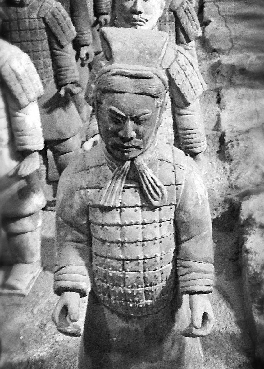 Scale reproduction of Terra Cotta Warriors - Tomb Warriors Statue Human Representation Sculpture Spirituality Close-up Reproduction Tomb Warriors Qin Dynasty Cool Fascinating Shadows & Lights Awesome Black And White Art Is Everywhere Break The Mold