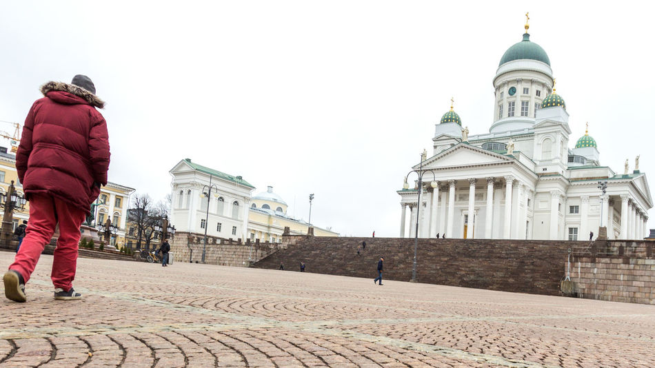 Architecture Building Exterior Built Structure Cathedral Check This Out City Clear Sky Copy Space Dome Famous Place Showcase April Leisure Activity Lifestyles Man Walking Man Walking From Behind Men Person Rear View Senaatintori Senatesquare Sky Travel Travel Destinations Walking