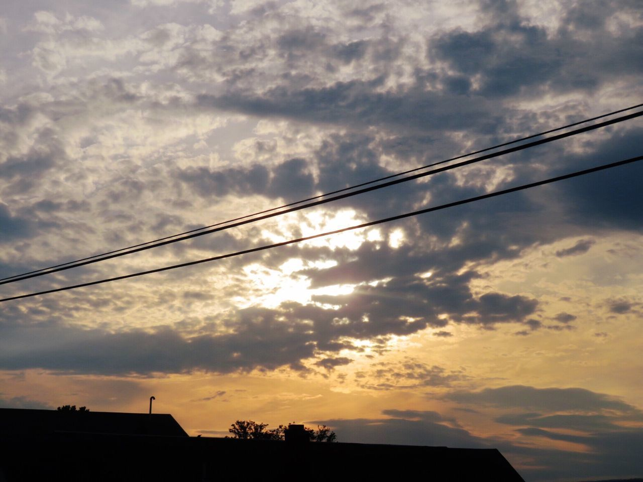 sunset, silhouette, cloud - sky, sky, no people, nature, beauty in nature, scenics, outdoors, low angle view, cable, built structure, building exterior, architecture, telephone line, day