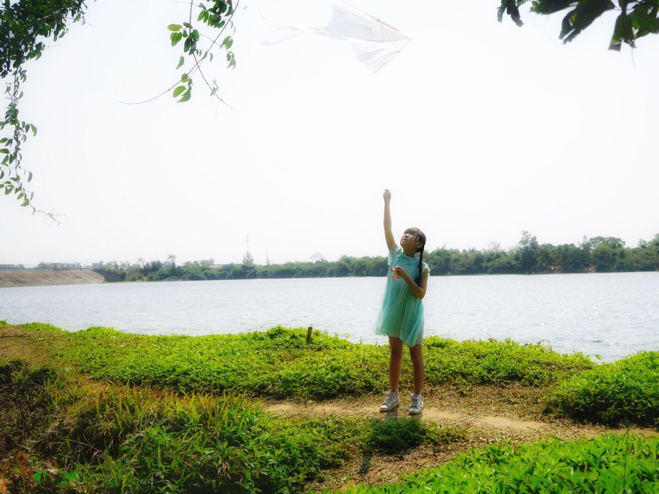 My little fairies❤️ Full Length Casual Clothing Rear View Water One Person People Childhood Nature Outdoors Day Sky Vacations Adult Lovely View Flying A Kite Green Color Countryside