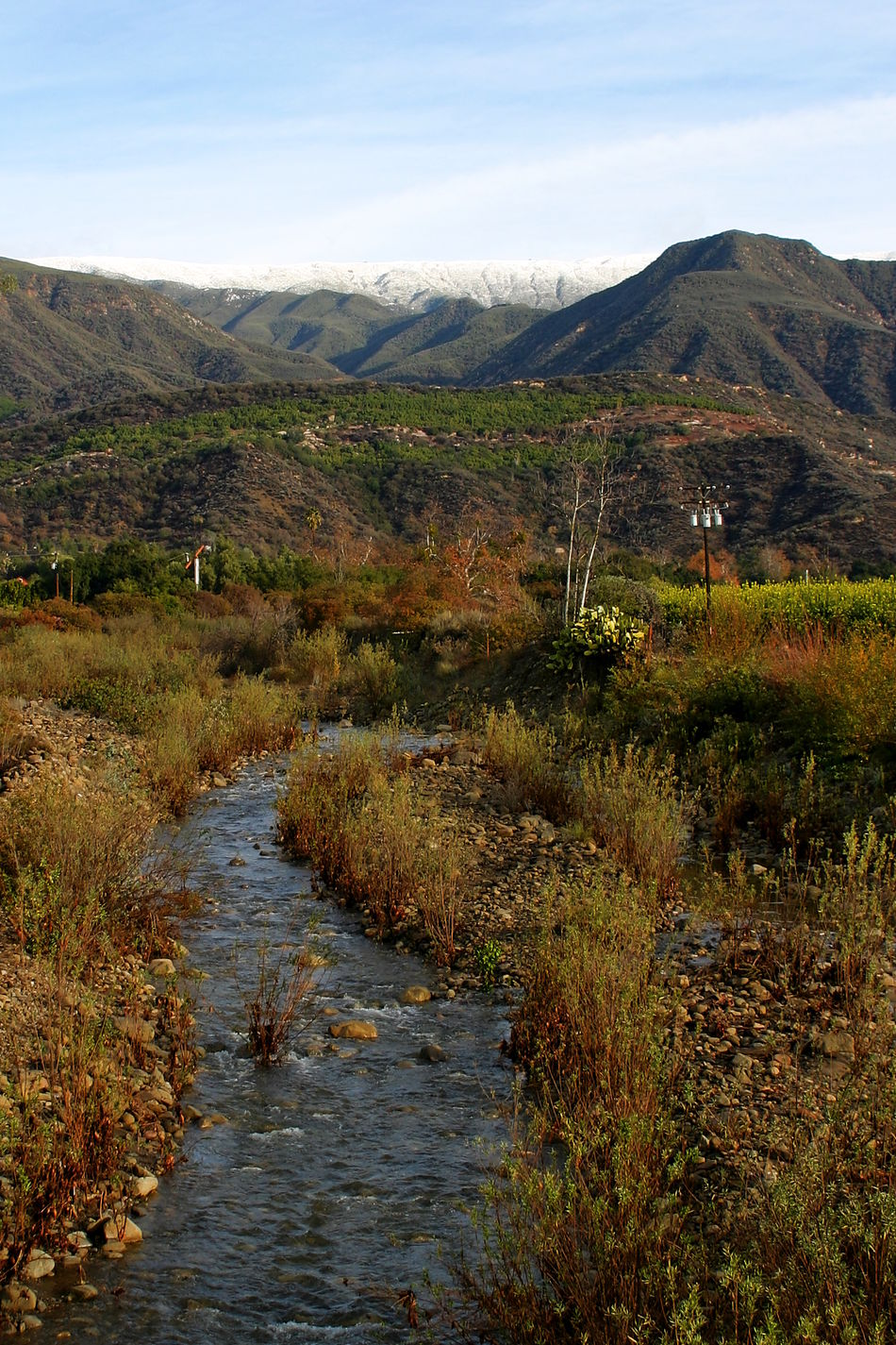 Ojai Valley Landscape of the Ojai valley wit a creek. California Cold Creativity Creek Grass Green Ice Landscape Mmountain Mountains Nature Ojai Outdoors Rock Scenery Scenic Scenics Sky Snow Stream Tourism Tourist Travel Water Winter