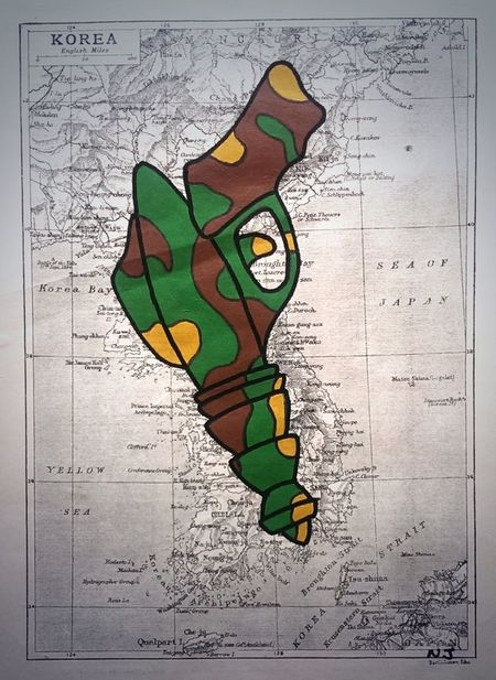 'Hot Lips', acrylic and ink on antique map Art Painting Ray Gun Cartography