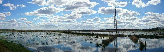 Panoramic Photography, Dutch Landscape, EyeEm Nature Lover, Water Reflections, Sky And Clouds, Wetlands
