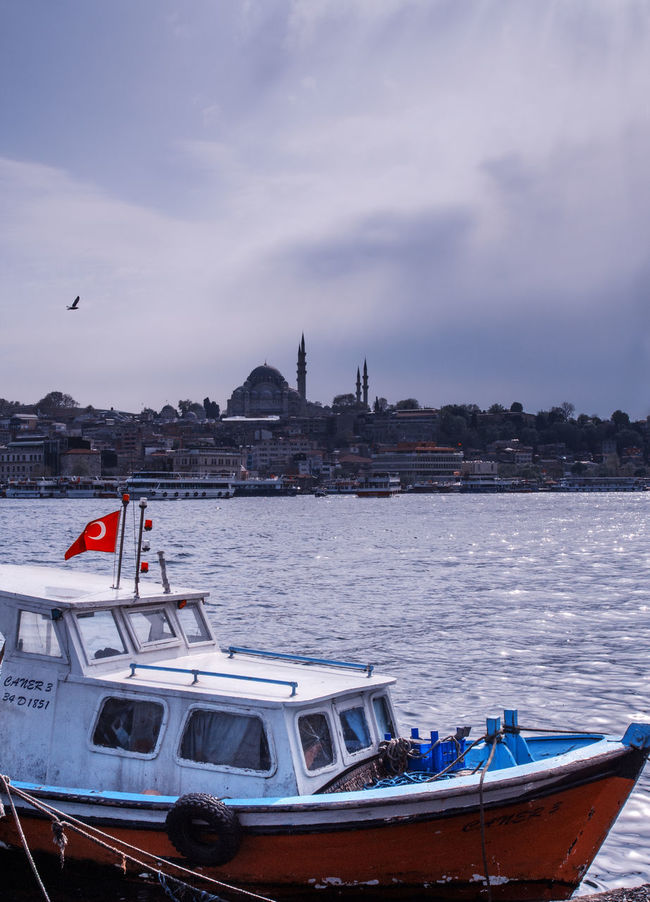 Fisher boat and The Blue Mosque Silhouette in Istanbul Architecture Boat Building Exterior Built Structure Church Cloud - Sky Cloudy Ferry History Istanbul Mode Of Transport Moored Nature Nautical Vessel Outdoors Passenger Craft River Sea Sky Tranquility Transportation Turkey Water Waterfront