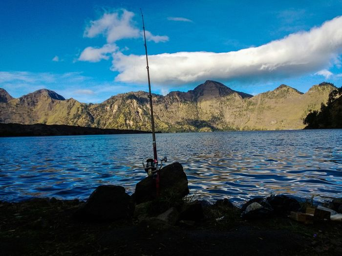 Fishing @ rinjani Lake Landscape Crater Lake Lake View Lombok Rinjani Segara Anak Lake Fishing Mountains And Sky Fishing Rod Outdoors