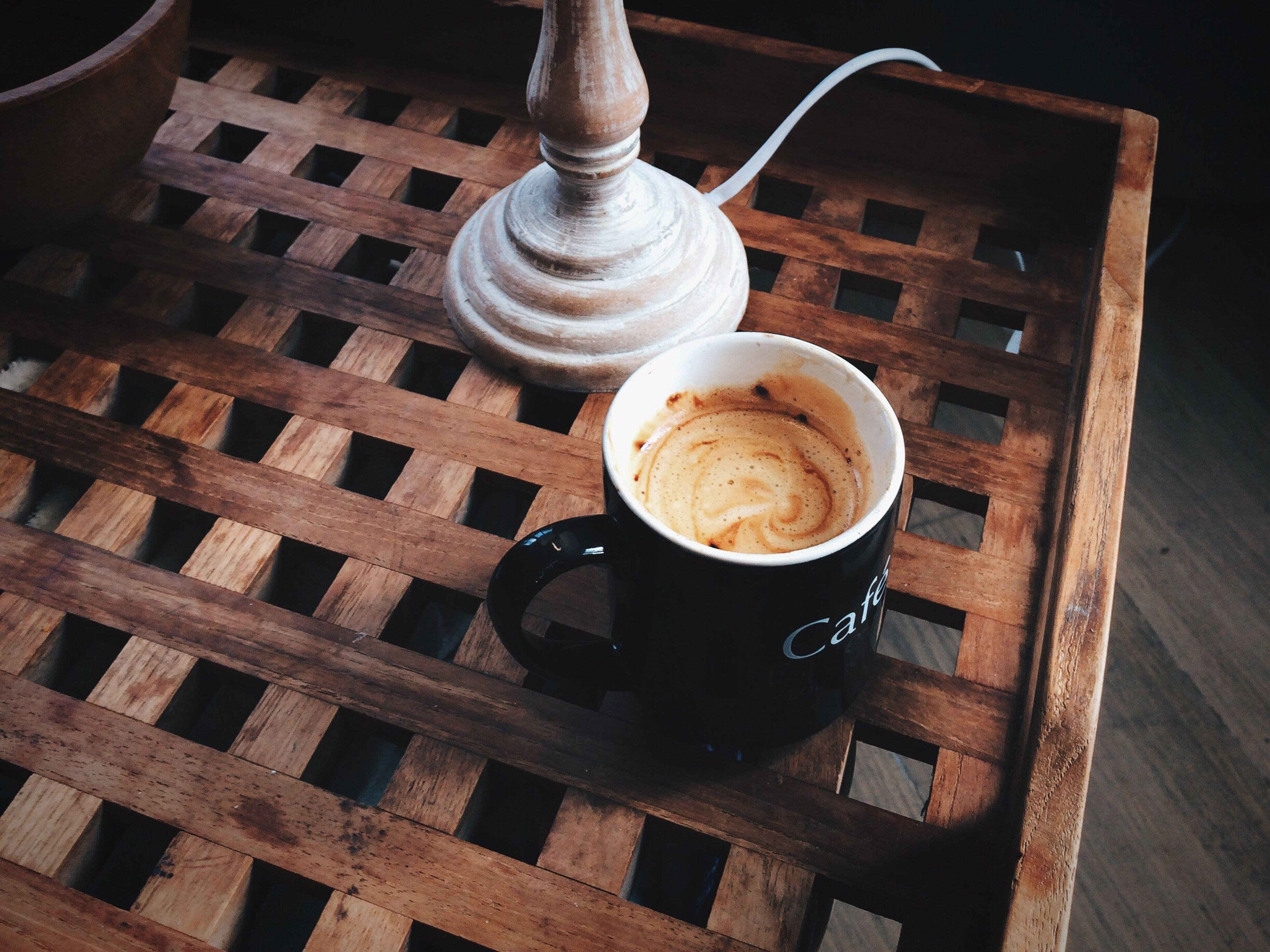 food and drink, indoors, still life, table, high angle view, drink, wood - material, coffee cup, close-up, coffee - drink, spoon, no people, built structure, day, metal, refreshment, wooden, architecture, building exterior