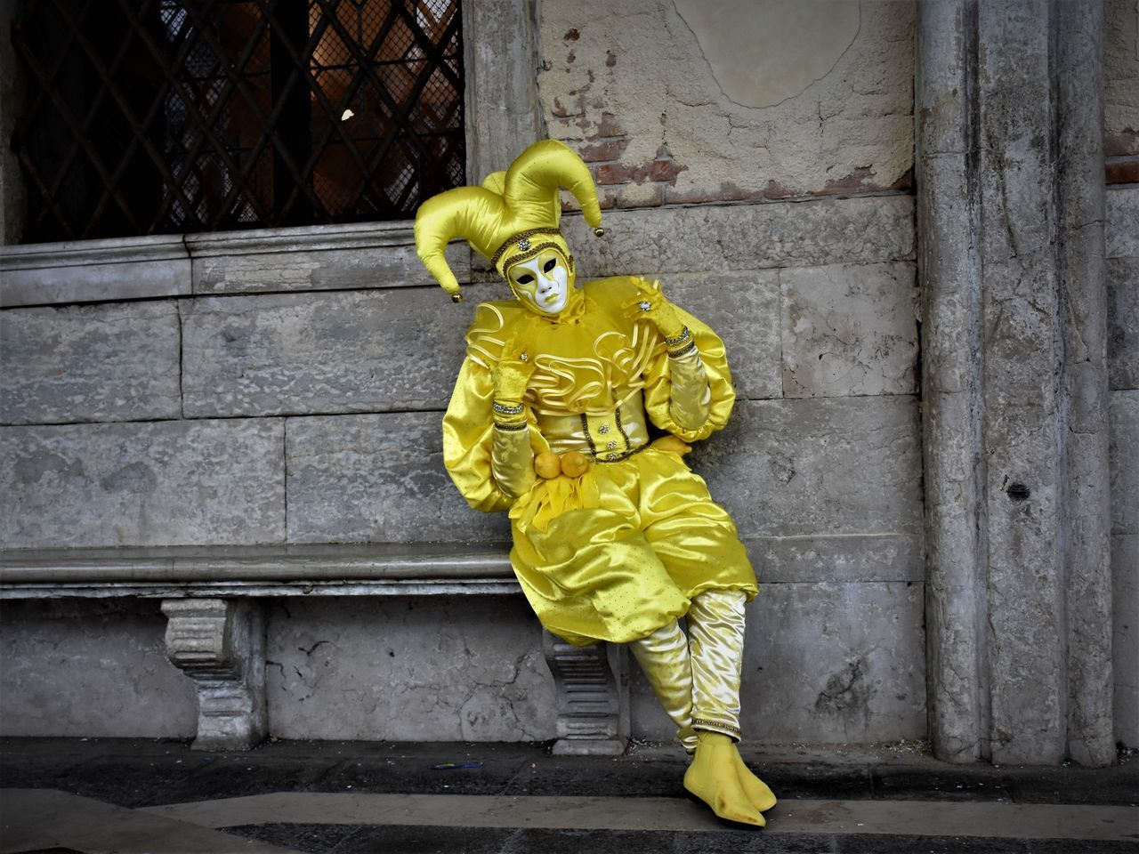 yellow, full length, outdoors, day, one person, one man only, clown, people, only men