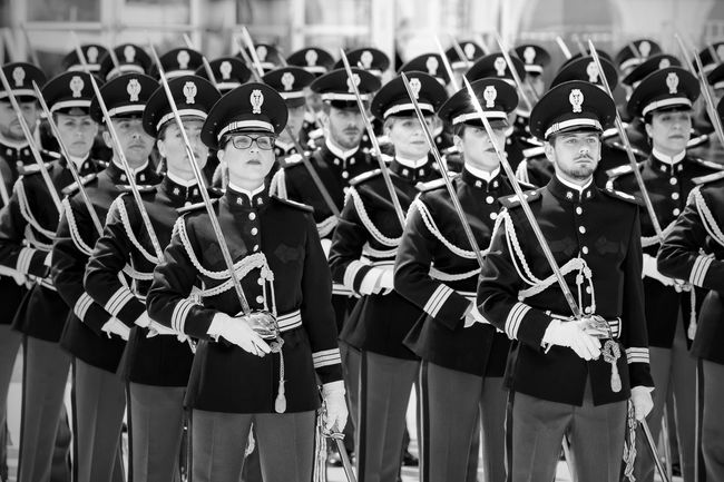Rome, Italy - May 25, 2016: Men and women of the police in full uniform during the celebrations for the 164th anniversary of the State Police. Anniversary Black And White Photography Blackandwhite Camp Celebration Department Deployment Uniform  Group Of People In A Row Lifestyles Parade Police Swords Uniforms
