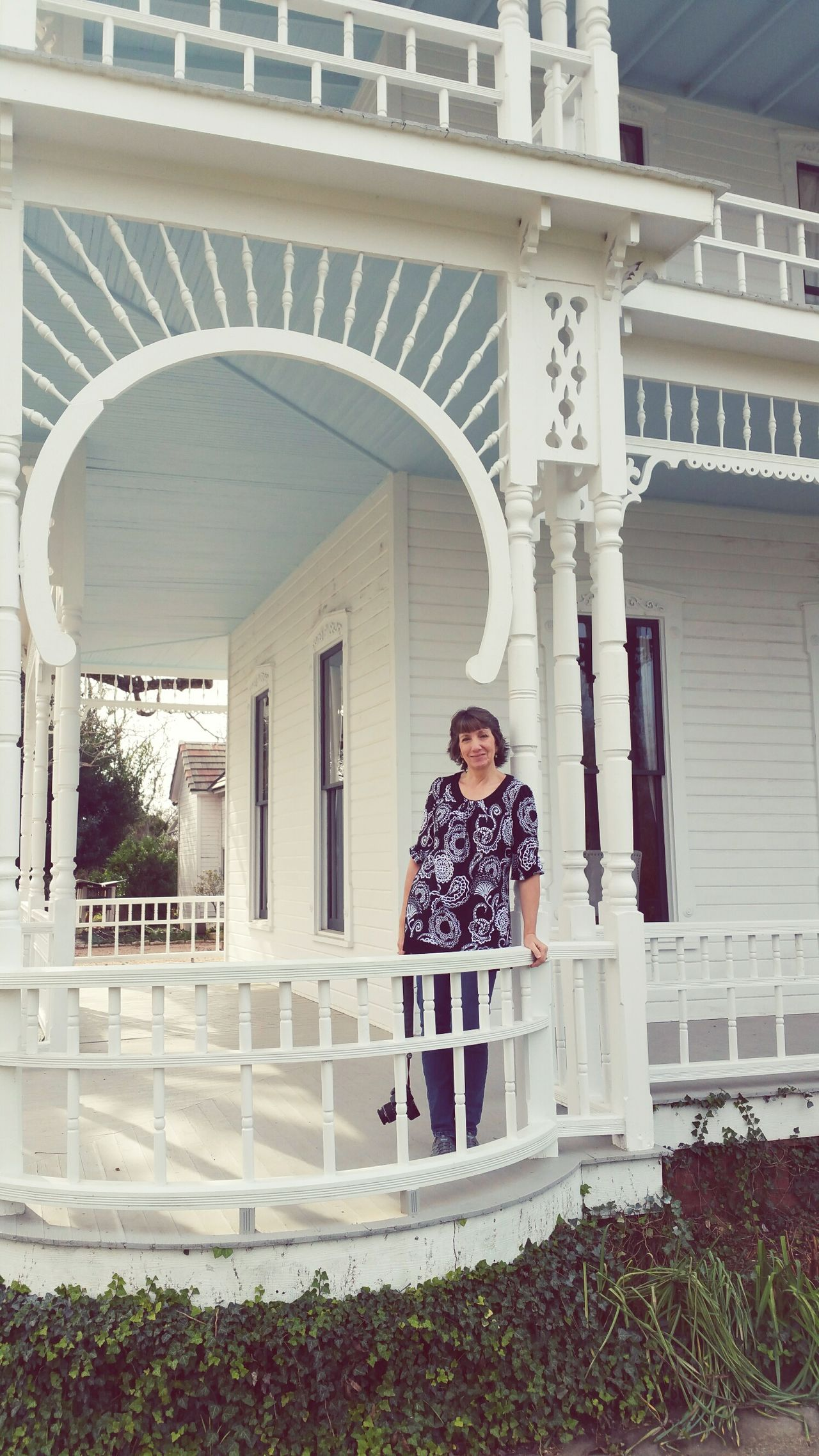 I want this porch 😆 Railing Full Length Architecture One Person People Outdoors Day Young Adult Historical Building Historical Barr Mansion Texas Women